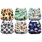 Mama Koala One Size Baby Washable Reusable Pocket Cloth Diapers, 6 Pack with 6 One Size Microfiber Inserts (Melody)