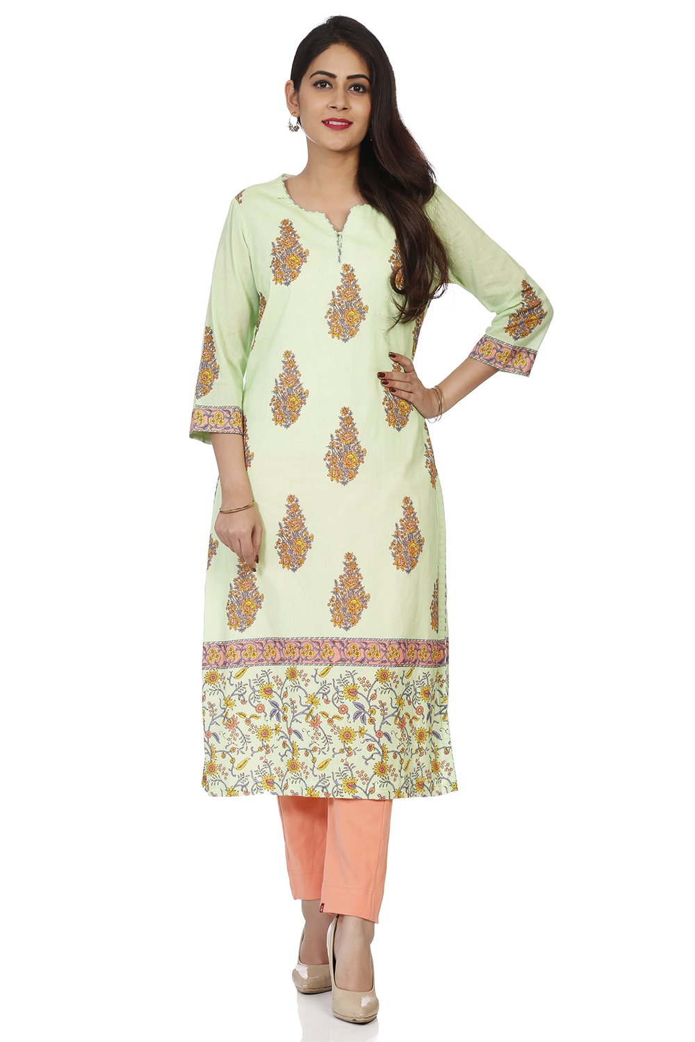 BIBA Women's Green Cotton Kurta Size 42