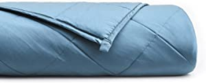YnM Bamboo Weighted Blanket for Couple | 100% Natural Bamboo Viscose 2.0 Heavy Blanket, 25 lbs 80''x87'' King Size | Bonus: A Blue Grey Bamboo Duvet Cover Included