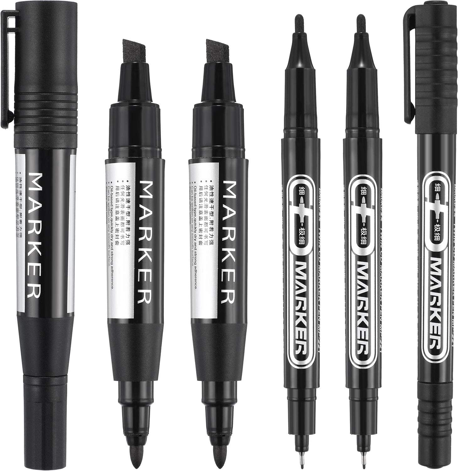 6 Pieces Permanent Markers, Different Sizes Double-Ended Permanent Marker Pen, Ultra Fine Tip, Fine Tip and Chisel Tip (Black)