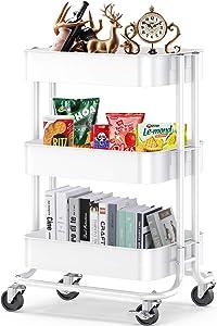 Pipishell 3-Tier Metal Rolling Utility Cart, Multifunction Storage Organization, Heavy-Duty Kitchen Island with 2 Lockable Wheels for Office, Kitchen, Bathroom, Nursery, Art Classroom (White)
