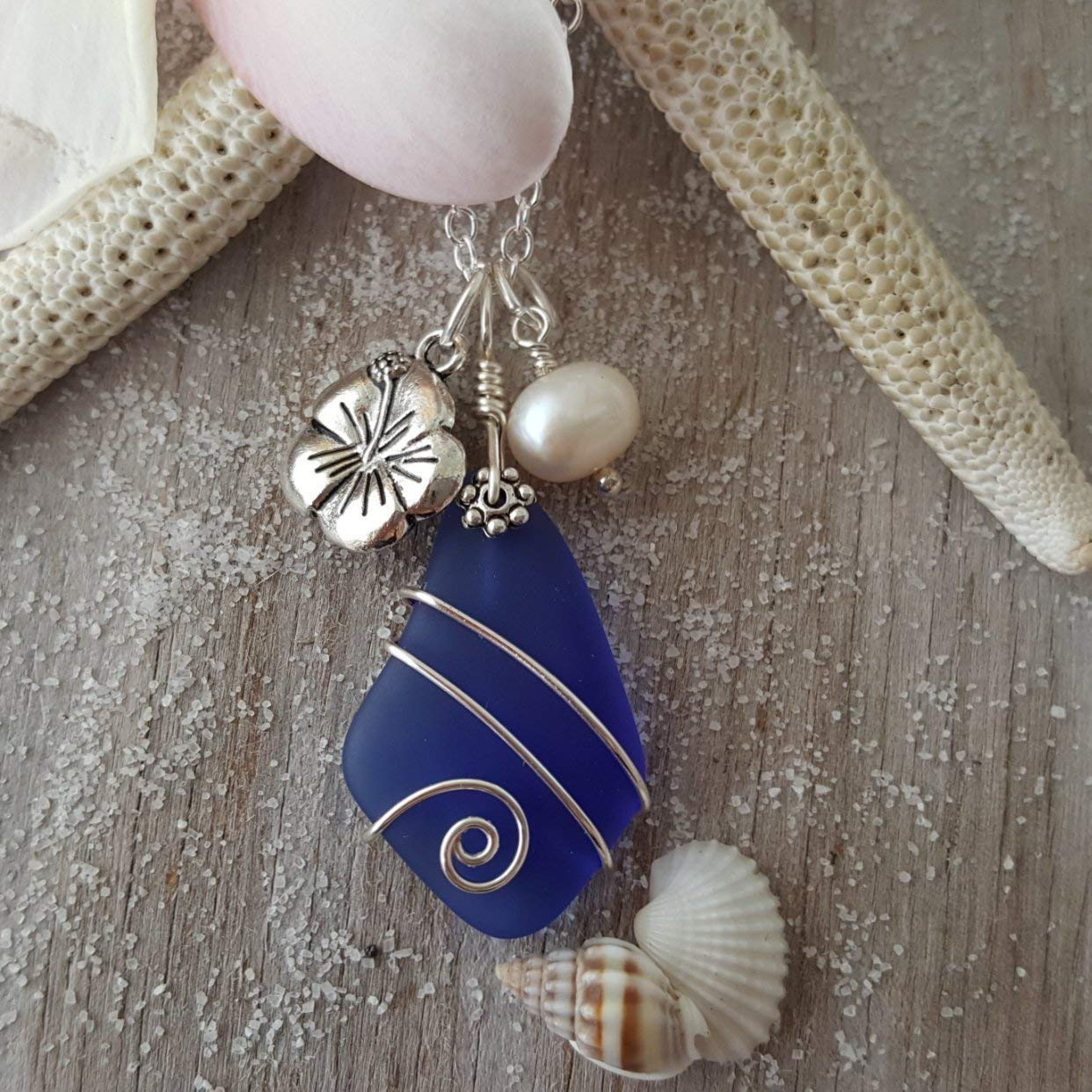ASeptember Birthstone Cobalt Sapphire sea glass necklace Hibiscus charm Hawaii Gift Wrapped, Customizable Gift Message freshwater pearl,