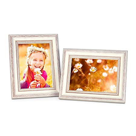 2 Picture Frames 8 x 6 Inch White Country-House Style Shabby-Chic ...