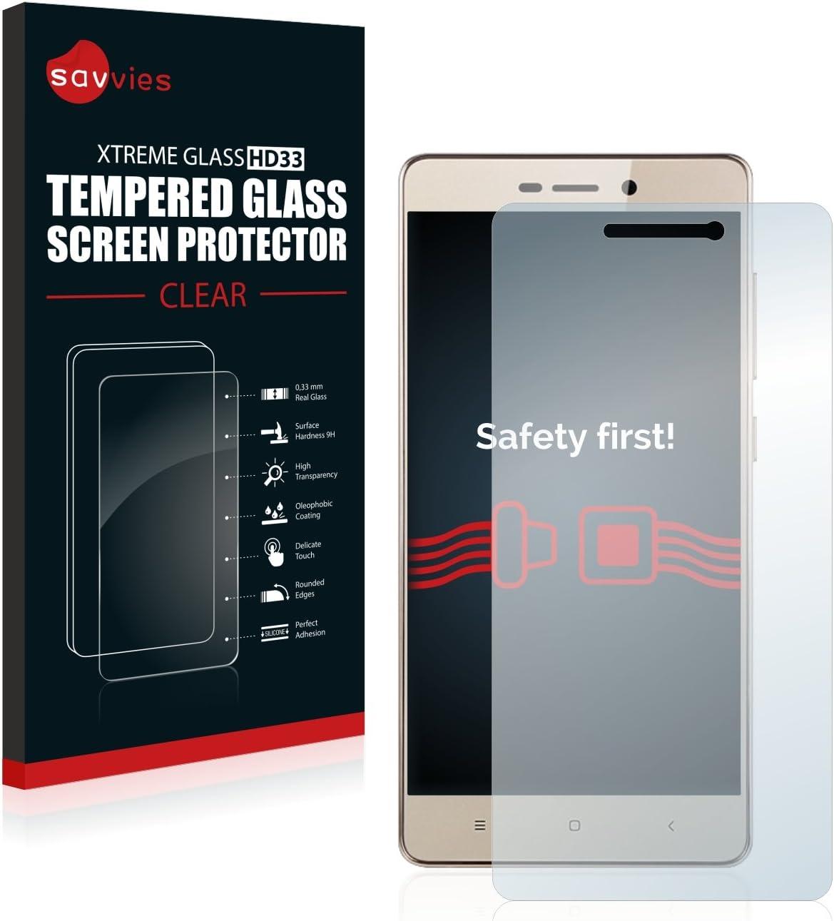 savvies Cristal Templado Compatible con Xiaomi Redmi 3S Protector Pantalla Vidrio Proteccion 9H Pelicula Anti-Huellas