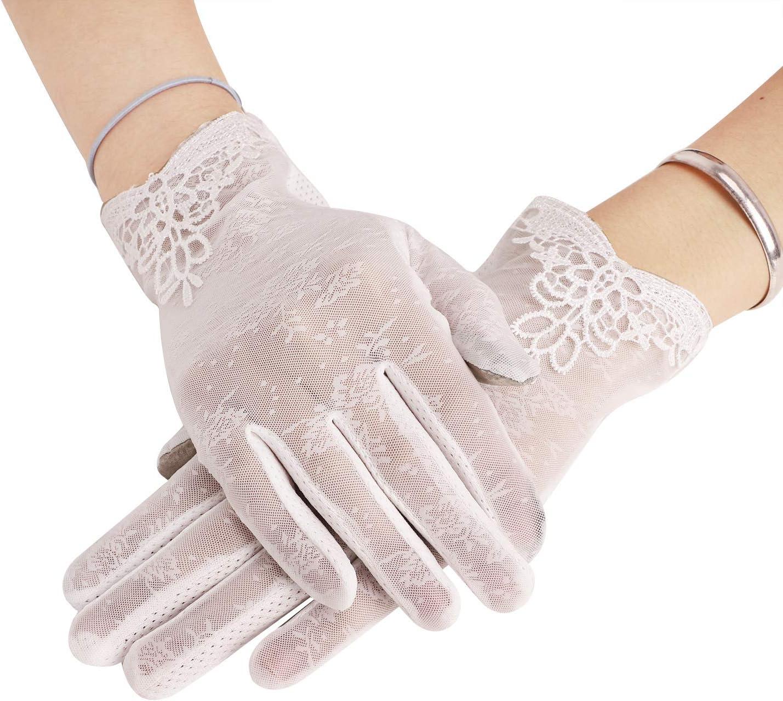 Sommer Frauen Handschuhe Spitze UV-Schutz Touch-Screen Driving-Handschuhe Hochzeit Braut Handschuhe Opera Fest Party Damen Lace Handschuhe Kost/üm Accessoires rutschfeste Handschuhe f/ür Autofahren