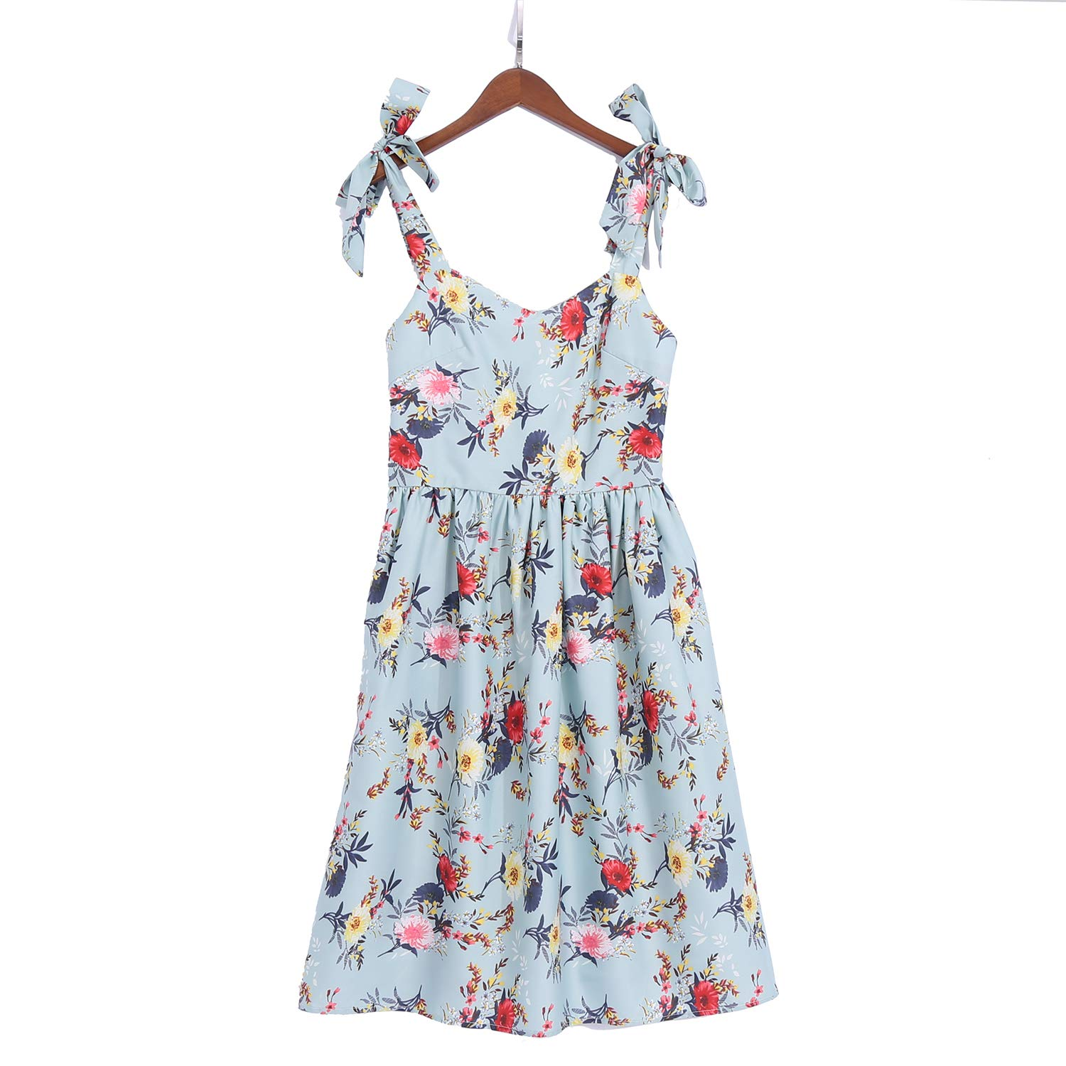 PopReal Mommy and Me Floral Printed Dresses Shoulder Straps Bowknot Chiffon Sleeveless Beach Mini Sundress