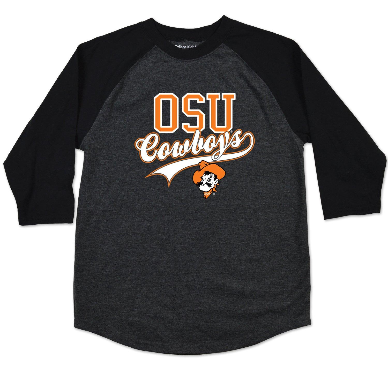 Black Heather Size College Kids NCAA Oklahoma State Cowboys Youth Home Run Raglan Tee 10-12 //Medium