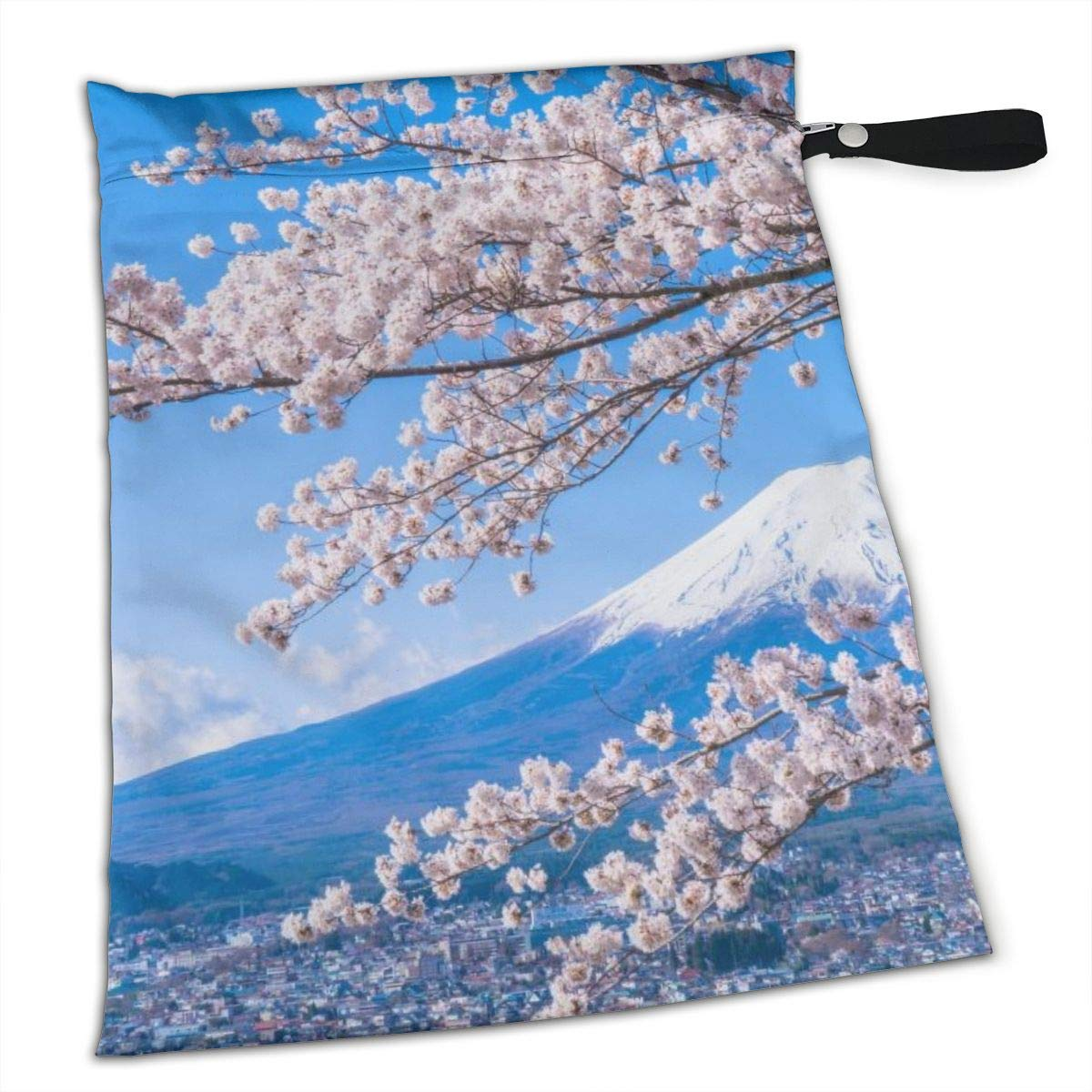 Japan's Mount Fuji and Cherry Blossoms Waterproof Wet Bag, Washable, Reusable for Travel, Beach, Pool, Stroller, Diapers, Dirty Gym Clothes, Wet Swimsuits, Toiletries, Electronics, Toys by CHAOXI