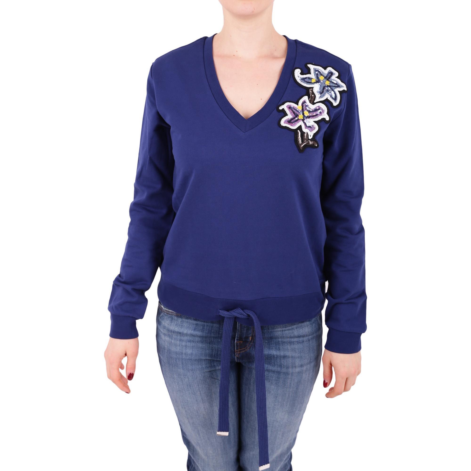 Twin-Set Women's Js82kn00535 Blue Cotton Sweatshirt