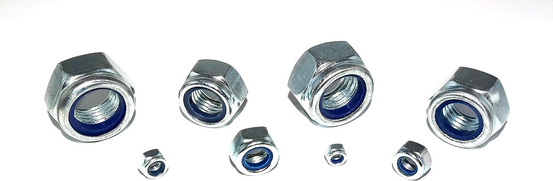 Sicherungsmuttern M3 DIN 985 5 St/ück Verzinkt Festigkeit 8 Klemmmuttern Stopmuttern