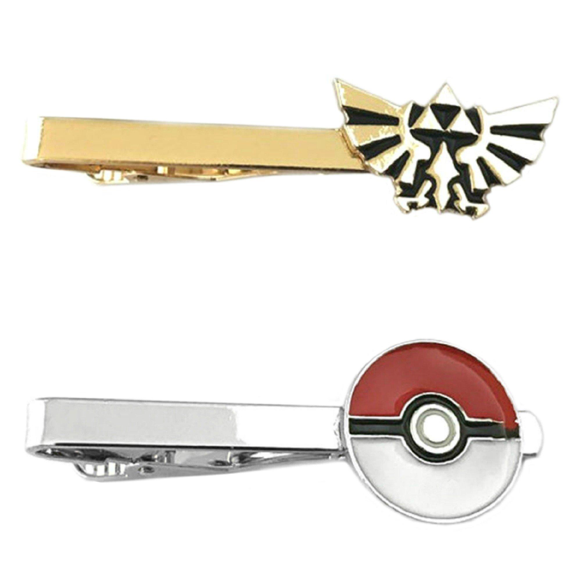 Outlander Video Games - Legend of Zelda Hyrule & PokeMon PokeBall - Tiebar Tie Clasp Set of 2 Wedding Superhero Logo w/Gift Box