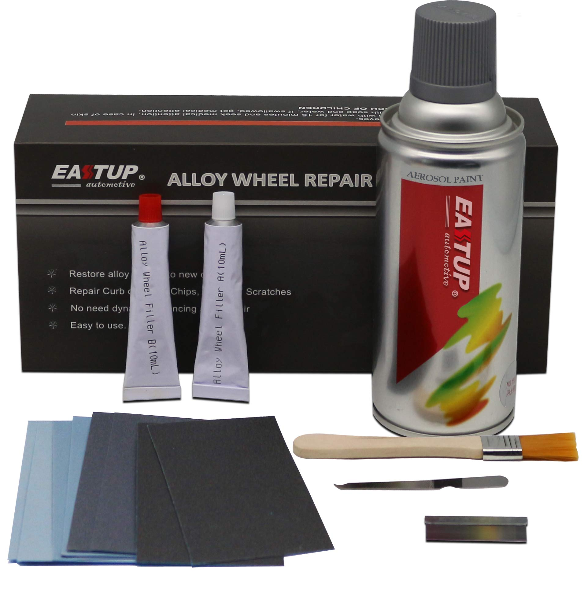 Eastup 80003 Alloy Wheel Repair Kit Alloy Rim Scrapes Scratches Remover (Color: Silver) by EASTUP