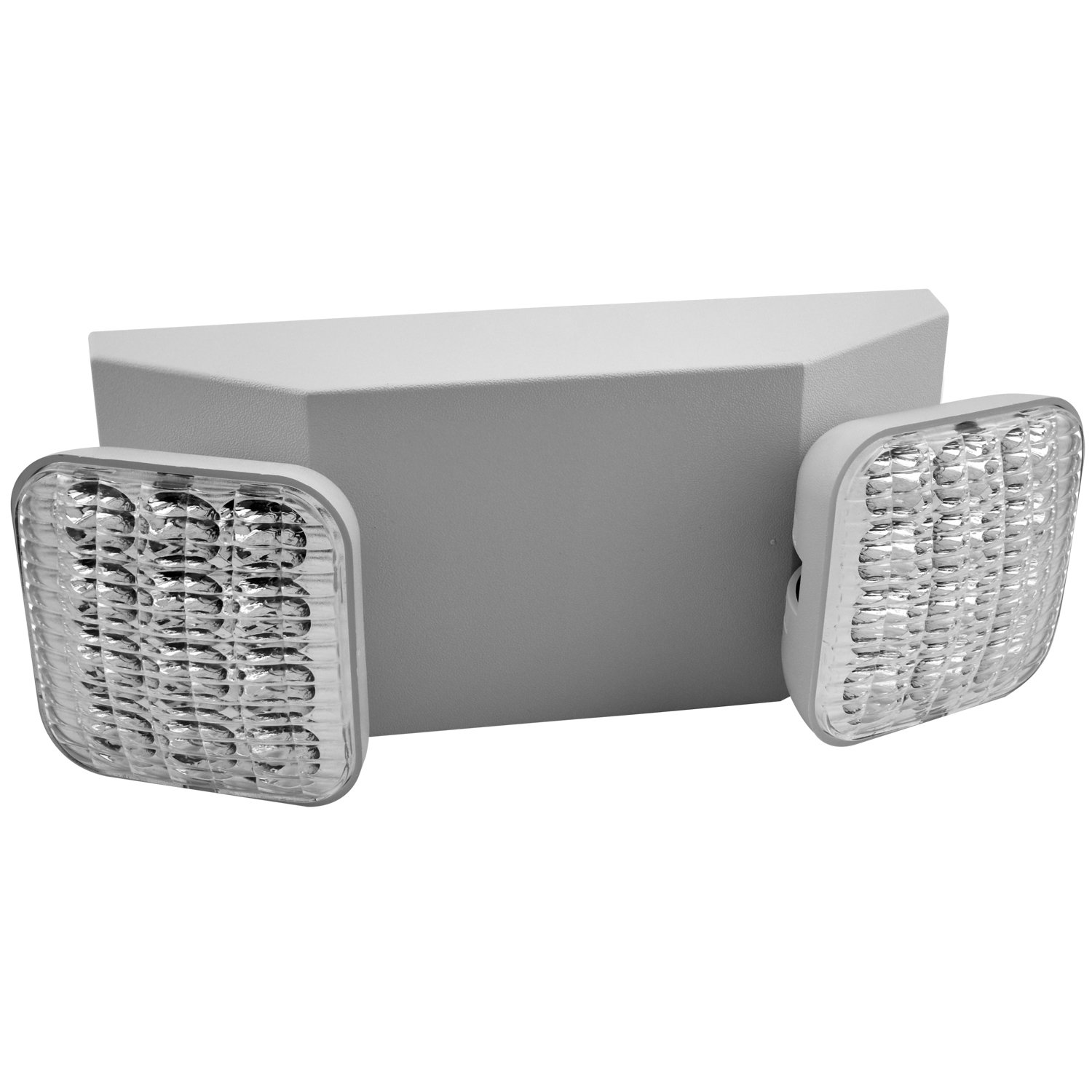 6 Pack - 2 HEAD LED EMERGENCY LIGHT WITH DEPENDABLE BATTERY BACK-UP (White Body Housing) - Duel 120/277v - Meets UL924, NFPA 101 Life Safety Code, 5 Year Warranty