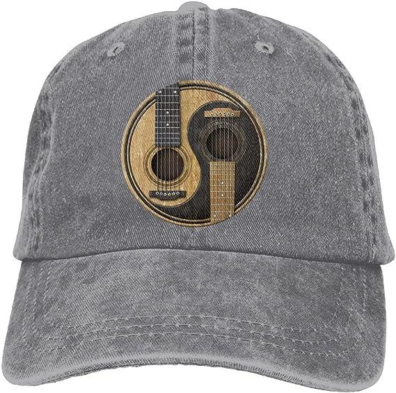 Buyiyang-01 Men Women Old and Worn Acoustic Guitars Yin Yang Cotton Denim Baseball Hat Adjustable Dad Hat