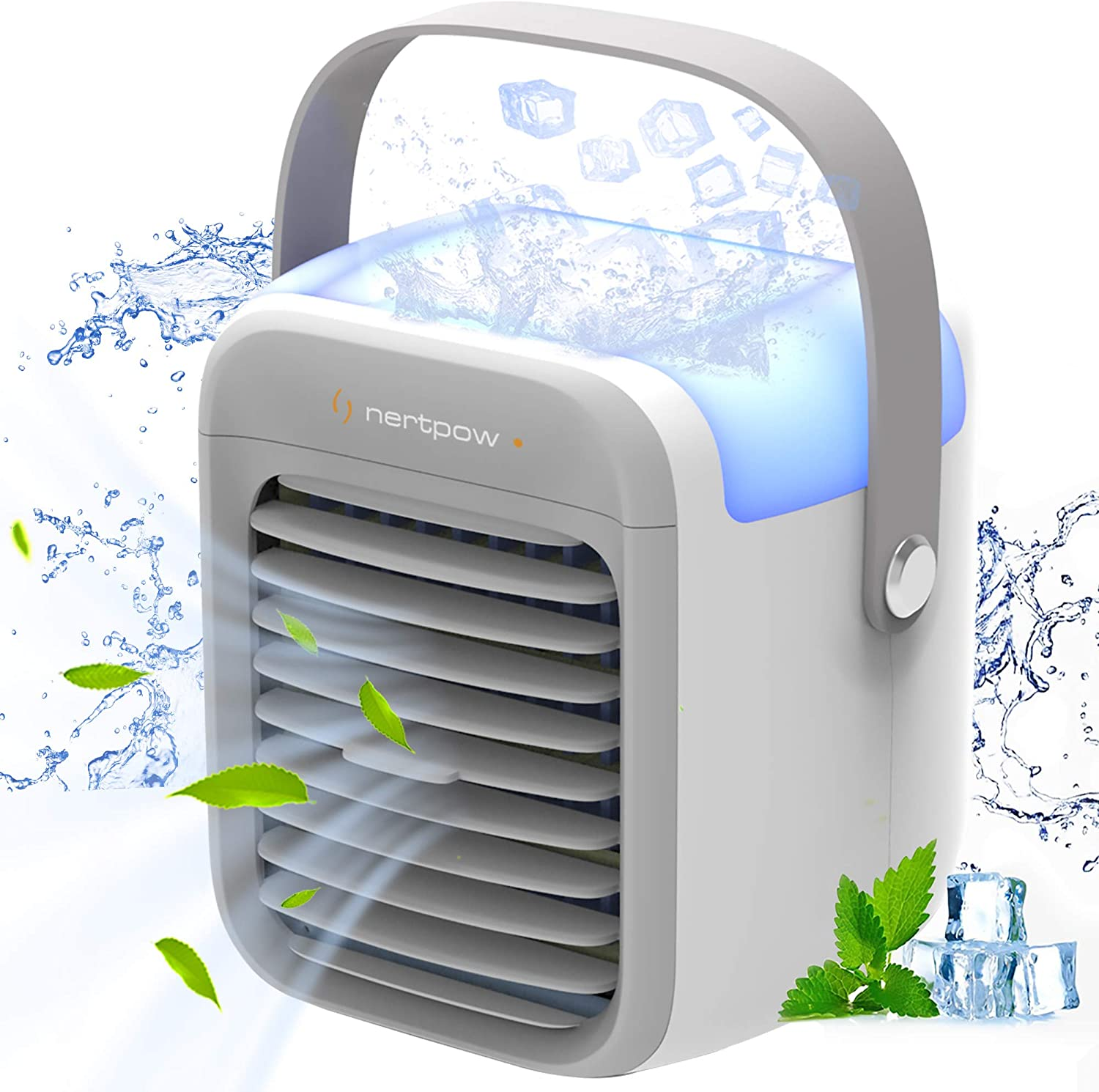 Nertpow Portable Air Conditioner, Portable Cooler, Quick & Easy Way to Cool Personal Space, As Seen On TV, Suitable for Bedside, Office and Study Room. Three Wind Level Adjustment,7 Color