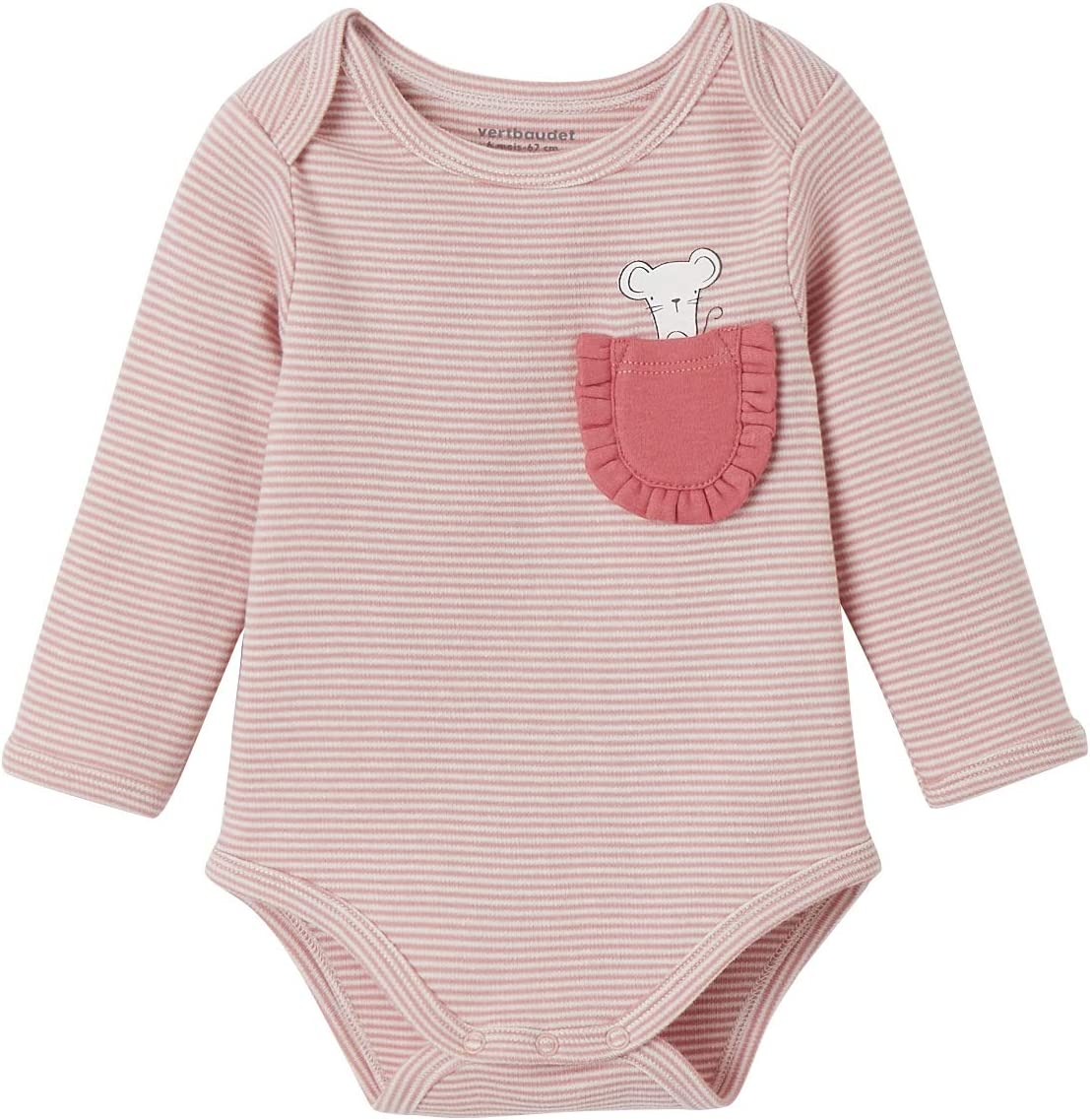 VERTBAUDET Body bebé 100% algodón de manga larga ROSA CLARO A ...