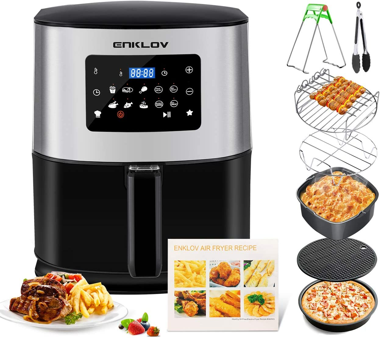 ENKLOV AFE08 AFE0 Air Fryer 7.5Qt XL (7 Cooking Accessories & Recipe Book Provided) 10 in 1 Digital Display Control, Oil Less Hot Airfryer Oven, Time-Saving Electric Power Cooker, Black