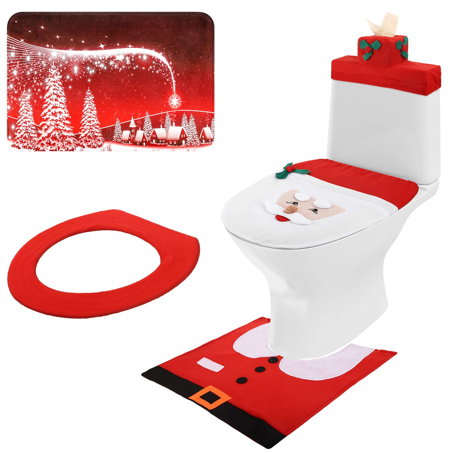 Mudder 3D Nose Santa Toilet Seat Cover Set Christmas Toilet Cover Decorations Xmas Bathroom Decorations for Christmas Holiday Home Decor, 5 Pieces Totally by Mudder