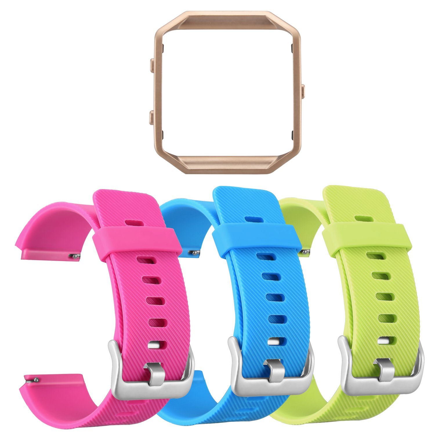 No Tracker 3 Pack Silicone Band with 1 Pcs Metal Frame for Fitbit Blaze Replacement Sport Fitness Accessory Wristband ESeekGo for Fitbit Blaze Bands