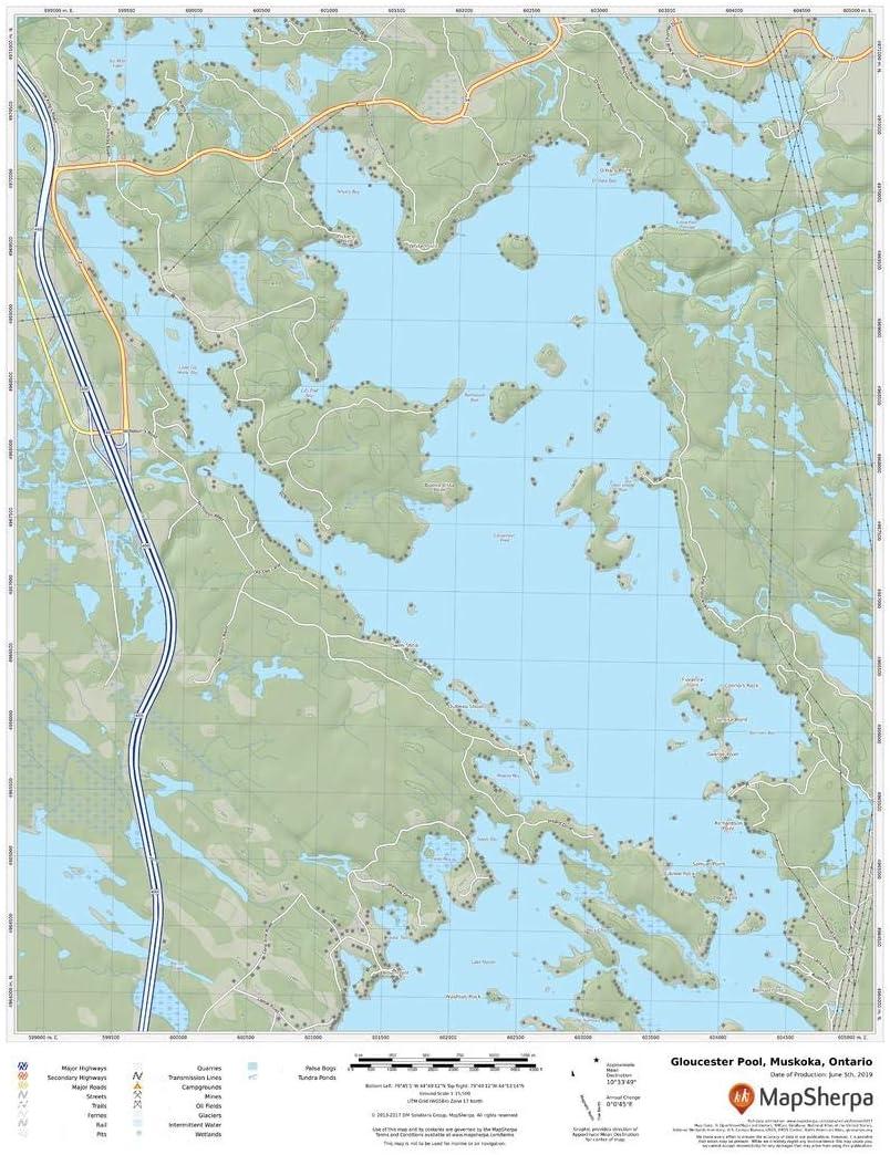 17 x 22 Laminated Wall Map Gloucester Pool Ontario Muskoka