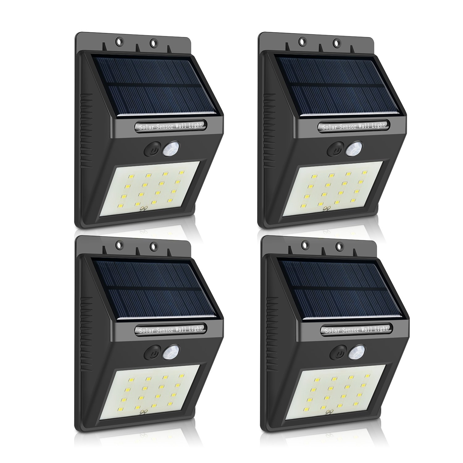 Outdoor Solar Security Lights 16LED Black Wireless Waterproof Motion Sensor Wall light Super Bright Night Lighting for Garden Outside Wall Pathway Yard Patio Driveway(4-Pack)