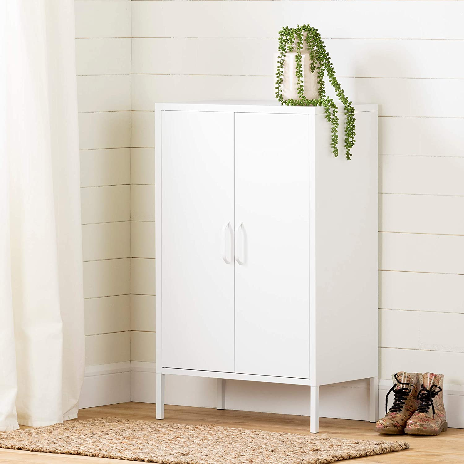 South Shore Furniture Crea Metal 2 Door Accent Cabinet White 13079 Amazon Ca Home Kitchen