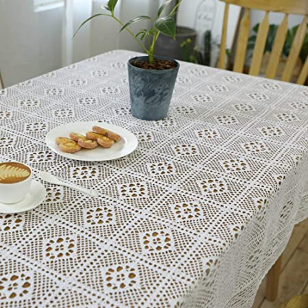 KE & LE Decoración Hecho a Mano Crochet Manteles, Blanco Algodón Hueco Vendimia Comida Sala Cocina Cubierta de la Tabla Mantel de Tela-A 140x140cm: Amazon.es: Hogar