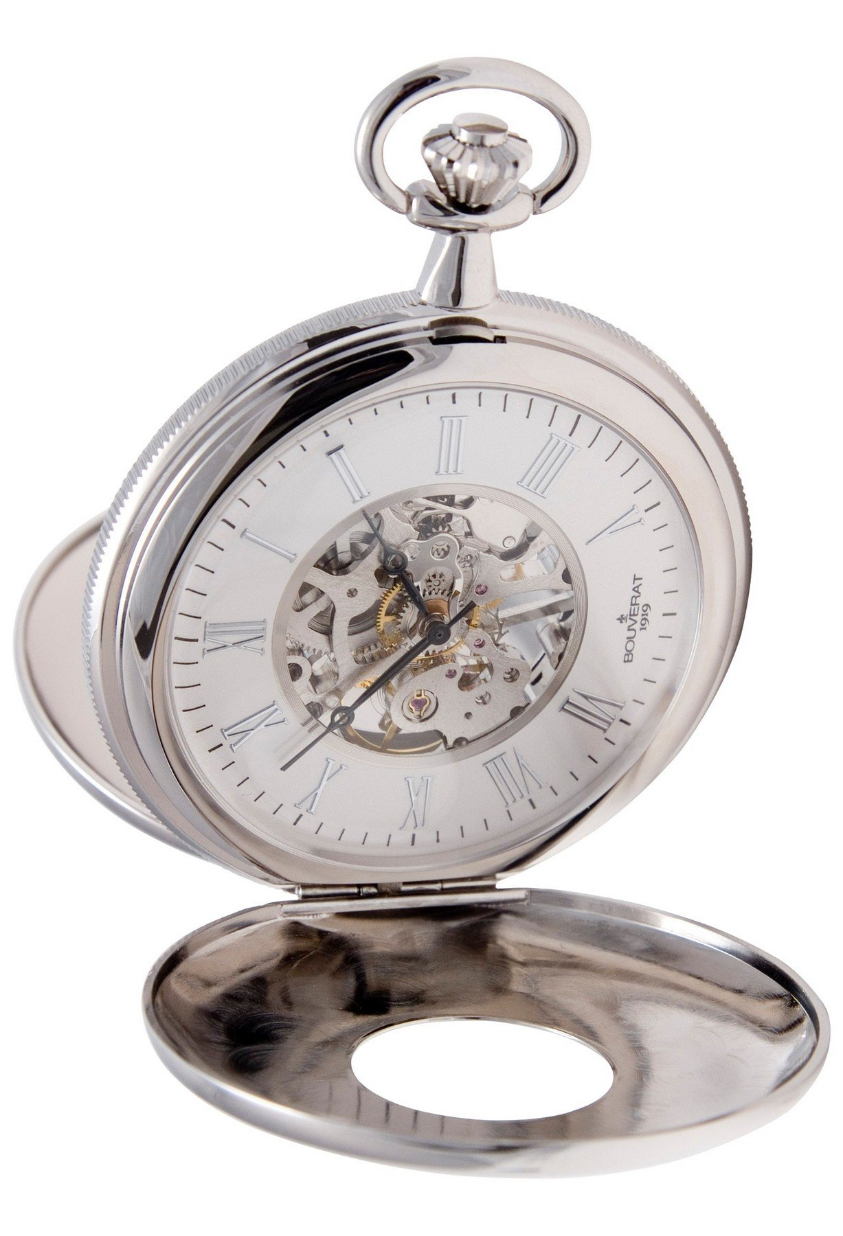 Bouverat 1919 Double Opening Polished Case Half Hunter Mechanical Roman Pocket Watch with White Dial BV824204