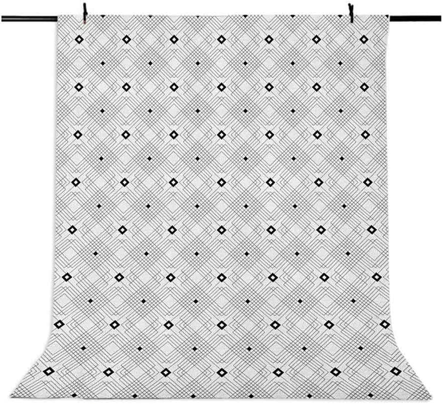 7x10 FT Geometric Vinyl Photography Backdrop,Monochrome Floral Design Symmetrical Elements Traditional Japanese Lotus Pattern Background for Baby Shower Bridal Wedding Studio Photography Pictures