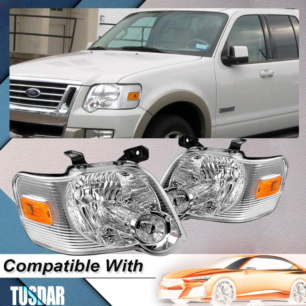 Compatible with 2006-2010 Ford Explorer Headlight Assembly Clear Lens Front Headlamp Pair Driver Passenger Side Chrome Housing