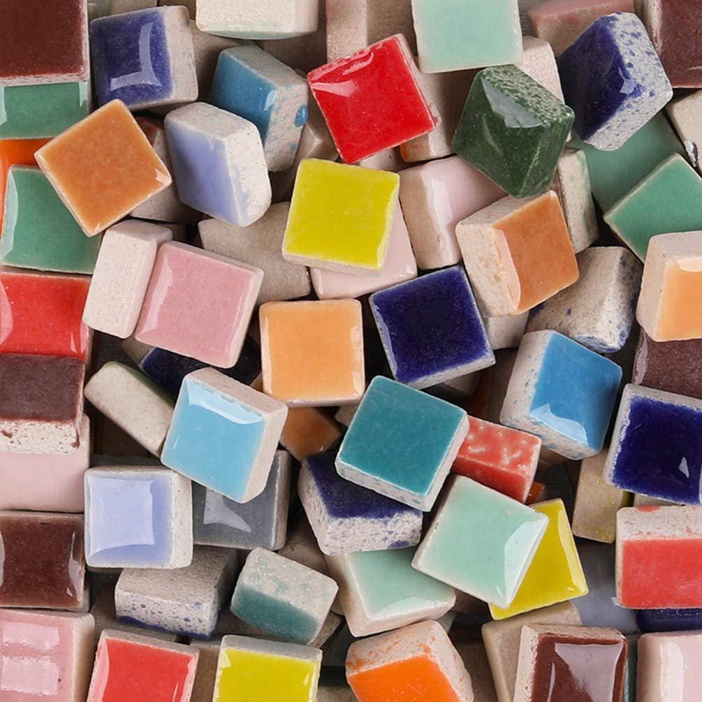 Multiple Colour Mix 200g - Mosaic Glass Tiles for Crafts - Premium Quality Stained Square Ceramic 1x1cm - Perfect for Home Decor, DIY Crafts, Pixel Art, Kid Play, Adult Hobbies, Full Color Mix