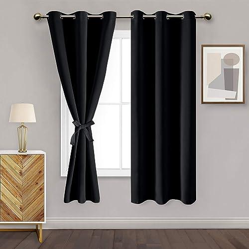 DWCN Black Blackout Curtains