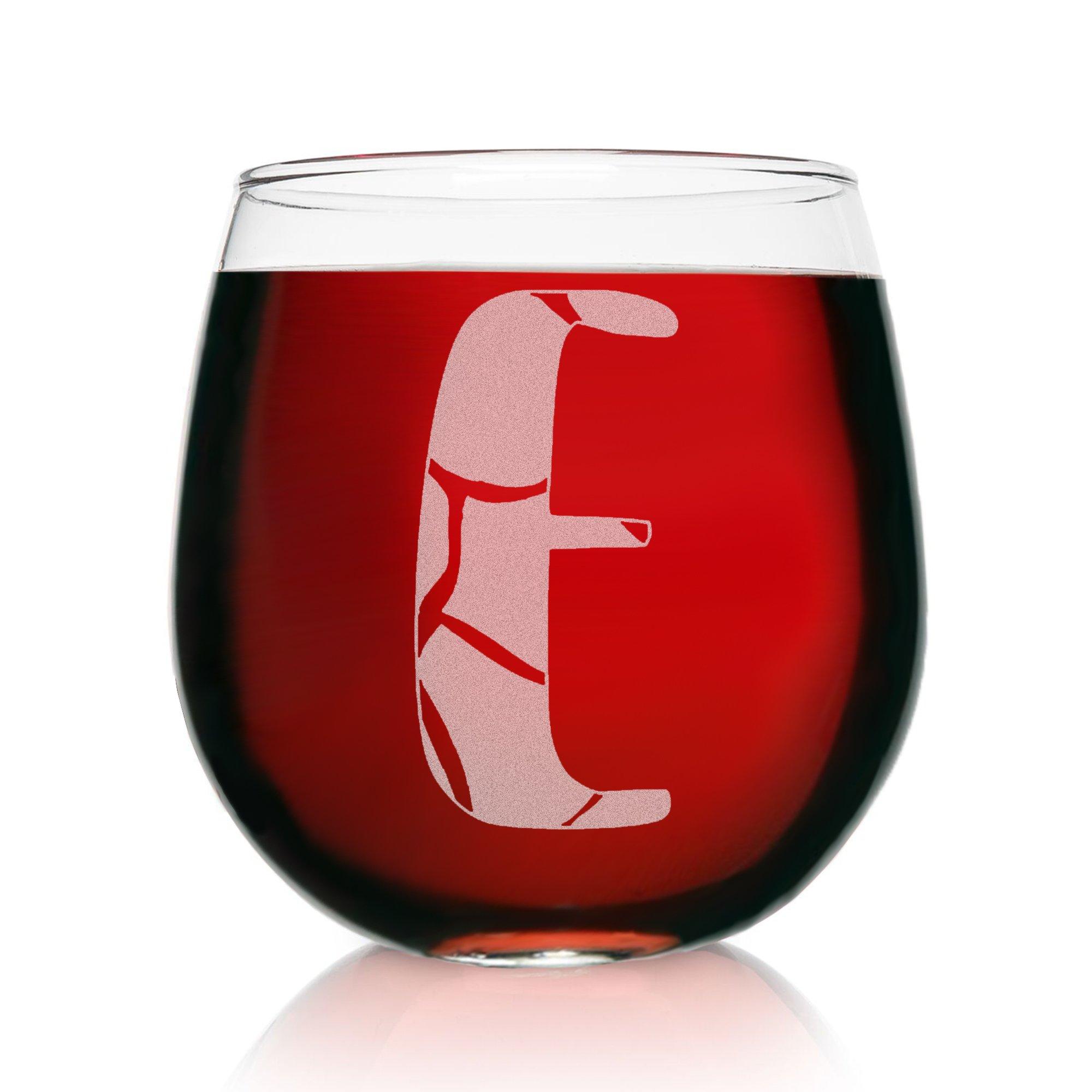 E-Monogram Giraffe- Etched Stemless Wine Glasses-Animal Print