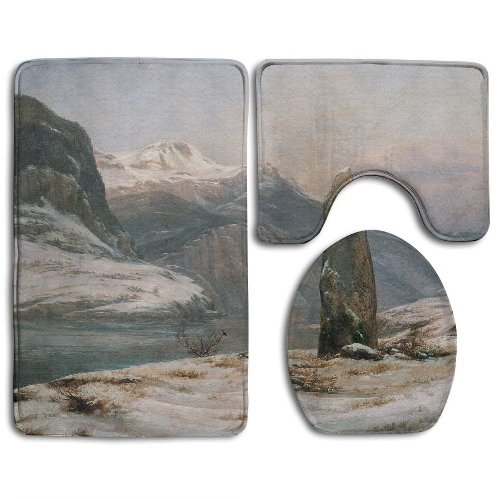Ttrsudddsyy Classic Art Classical Art Johan Christian Dahl J. C. Dahl Mountains Home Set Of 3 Soft Bath Rug Non-slip Bathroom Shower Mat