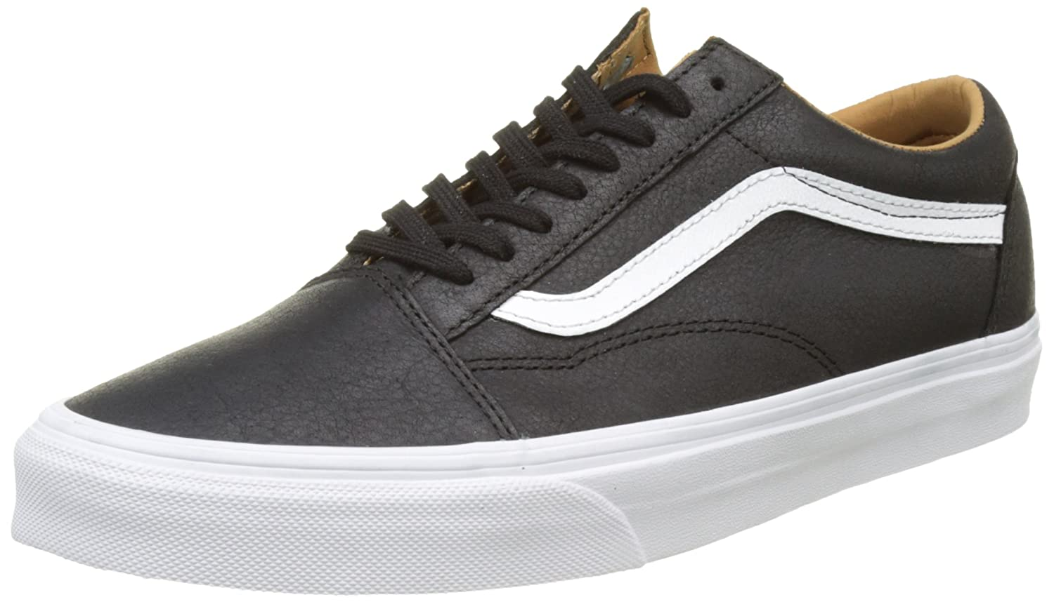 Vans Unisex Old Skool Classic Skate Shoes B01I231TLA 8.5 B(M) US Women / 7 D(M) US Men|(Premium Leather) Black/True White