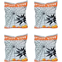 Pack of 4 Stretchable Spider Cob Web Halloween Decoration with Spiders