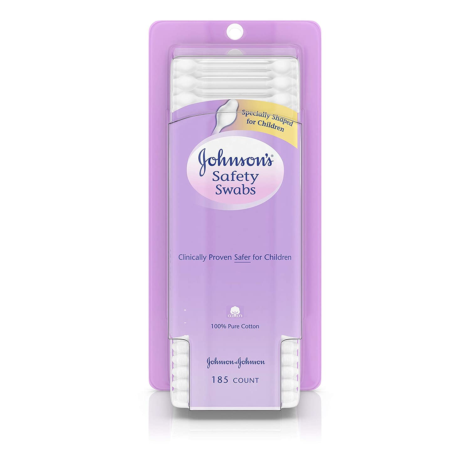 Johnson's Safety Ear Swabs for Babies & Children made with Non-Chlorine Bleached Cotton, 185 ct (Packaging May Vary) Johnson's Baby JJ-142
