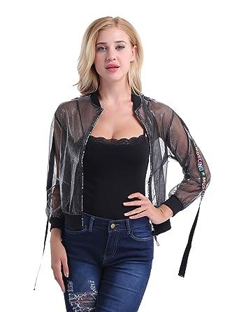 TiaoBug Femme Tulle Veste Maille à Manches Longues Top Zipper Veste Sexy  Jacket Transparent Manteau Court 91f49aafe13