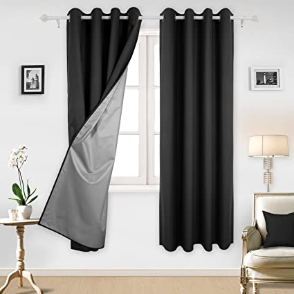 Deconovo Black Blackout Curtains With Backside Silver Grommet Top For Living Room 52W