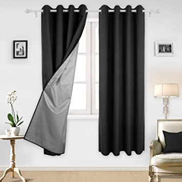 Deconovo Black Blackout Curtains With Backside Silver Grommet Top Curtains  Silver Curtains For Living Room 52W Part 27