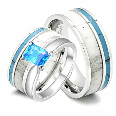 Amazoncom 3 pc Natural Deer Antler Ring with Turquoise Inlay