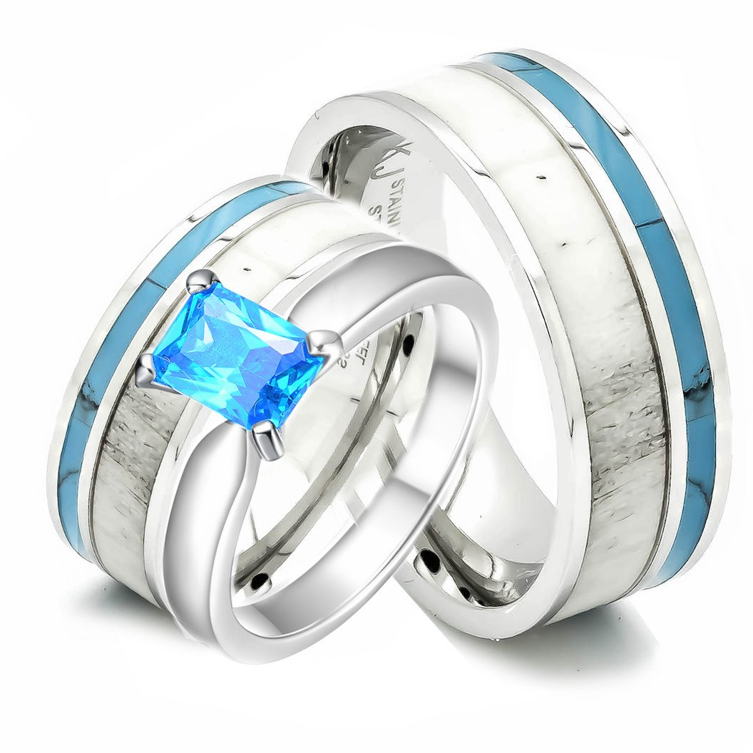 3 pc Natural Deer Antler Ring with Turquoise Inlay Engagement ring Mens Womens Wedding Ring Set Stainless Steel Sterling Silver Band