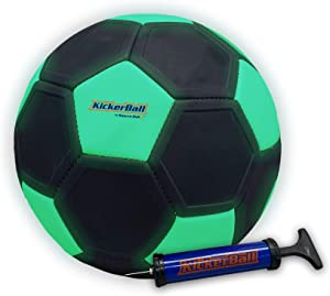 Kickerball - Curve and Swerve Soccer Ball/Football Toy - Kick Like The Pros, Great Gift for Boys and Girls - Perfect for Outdoor & Indoor Match or Game (Glow in The Dark)