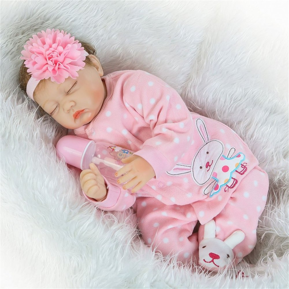 Erduo 22 Pulgadas Cerrar Ojos muñeca de Silicona Vinilo muñeca de bebé Hecho a Mano Adorable Adorable niño pequeño recién Nacido muñeca Juguetes - Colorido