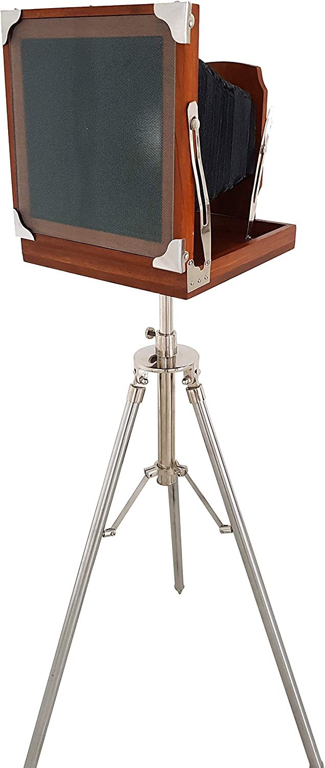 Wooden Vintage Camera Model on Steel Tripod - Collectibles Buy Home & Office Decor