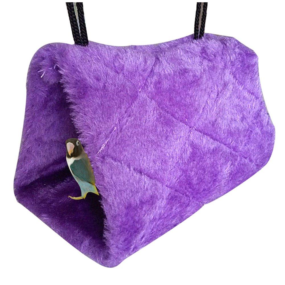 Pet Bird Snuggle Cave Fleece Parrots Swing Hammock Cage Hut Hanging Toy Tent Bed (M:24x23x17cm, purple)