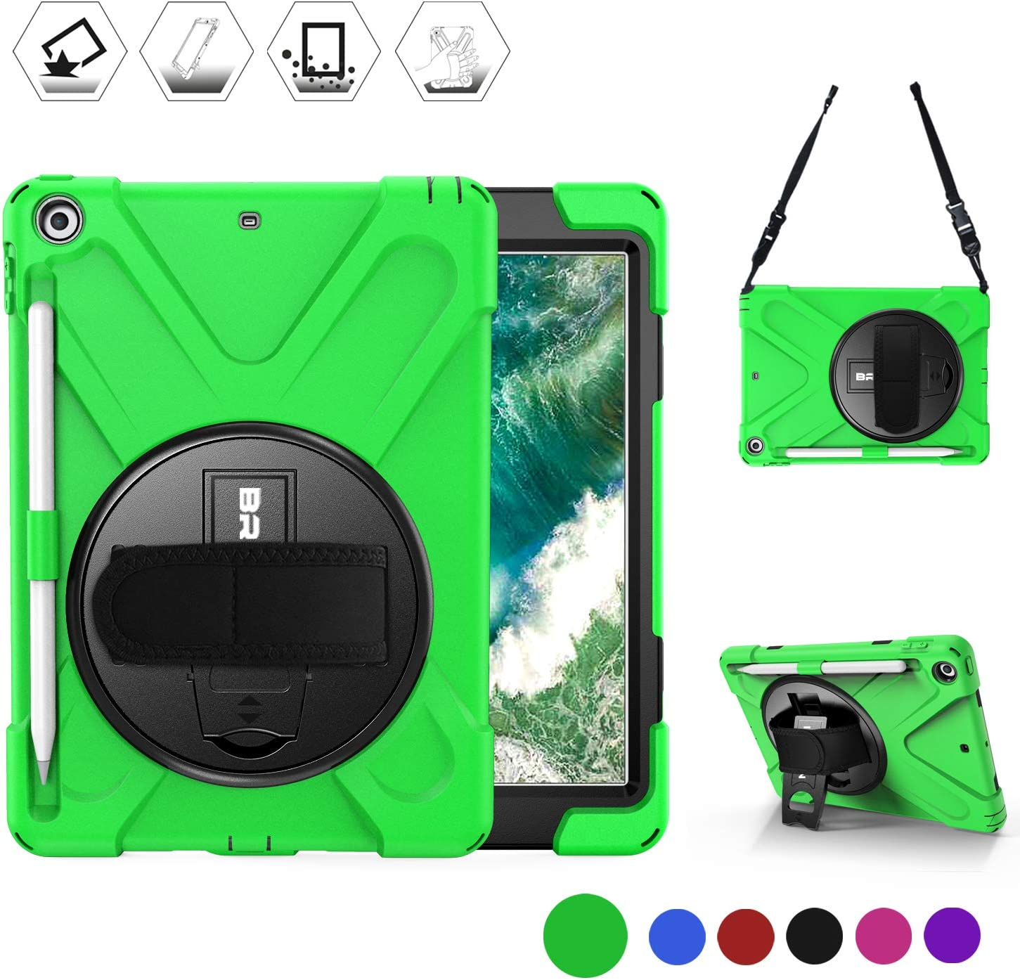 BRAECN New iPad 6th/ 5th Generation Case, Protective Shock-Proof Silicone Case with Built-in Pencil Holder, 360 Degree Rotating Stand/Handle Strap, Shoulder Strap for iPad 9.7 Inch 2018 Model-Green