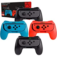Orzly Grips (Poignées) Compatible avec Nintendo Switch Joy-Cons pour Plus De Confort - Quad Pack (2X Noir 1XRouge 1XBleu) Compatible Super Smash Bros Ultimate pour Nintendo Switch