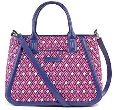 3087a2b0a301 Amazon.com  Vera Bradley Trimmed Trapeze Satchel Handbag in Katalina Pink  Diamonds Faux Leather Collection   Shoes