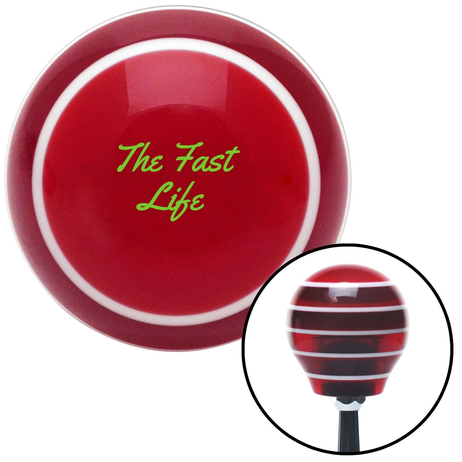 American Shifter 273920 Shift Knob Green The Fast Life Red Stripe with M16 x 1.5 Insert